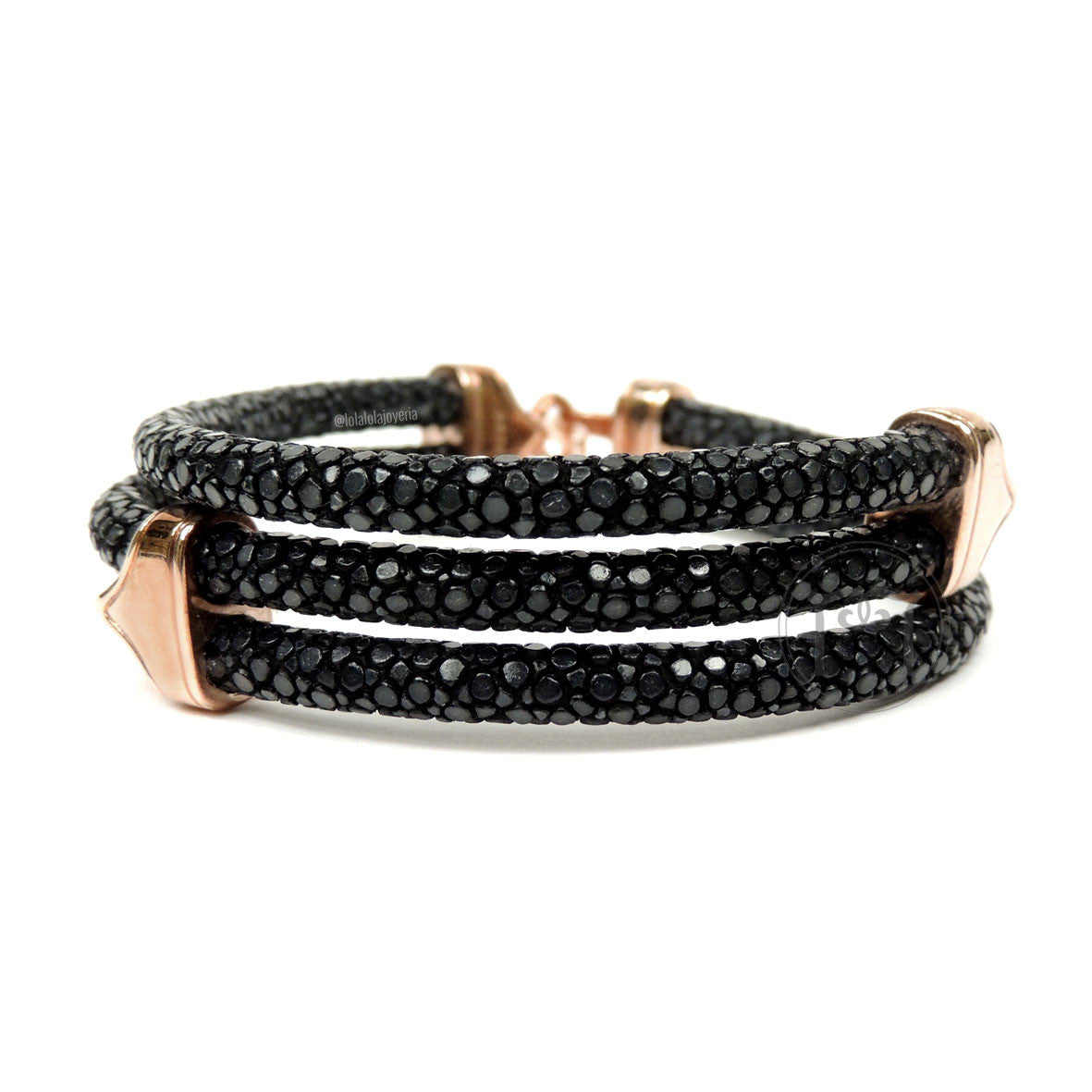 Clasp Rose Gold Triple Rope Black Stingray