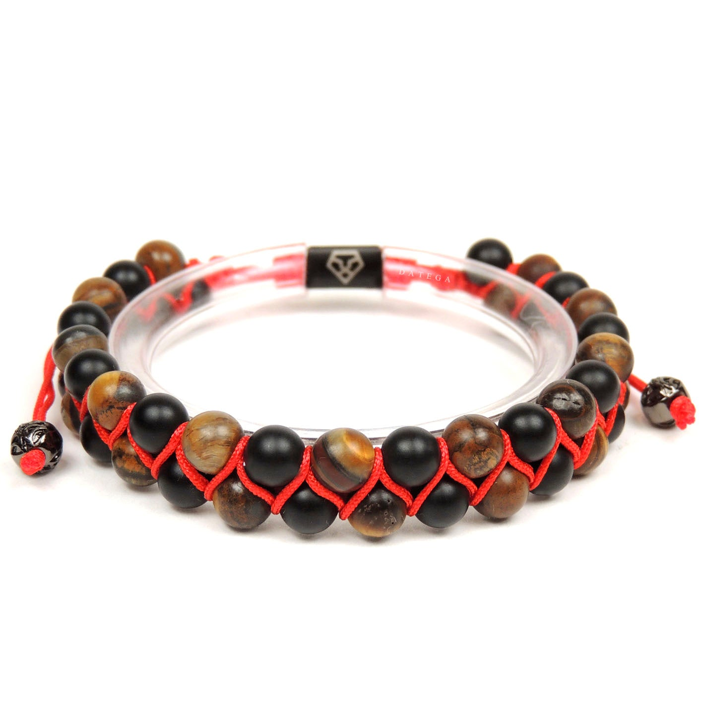 Double Beaded Matte Tiger Eye & Onyx - Red Rope