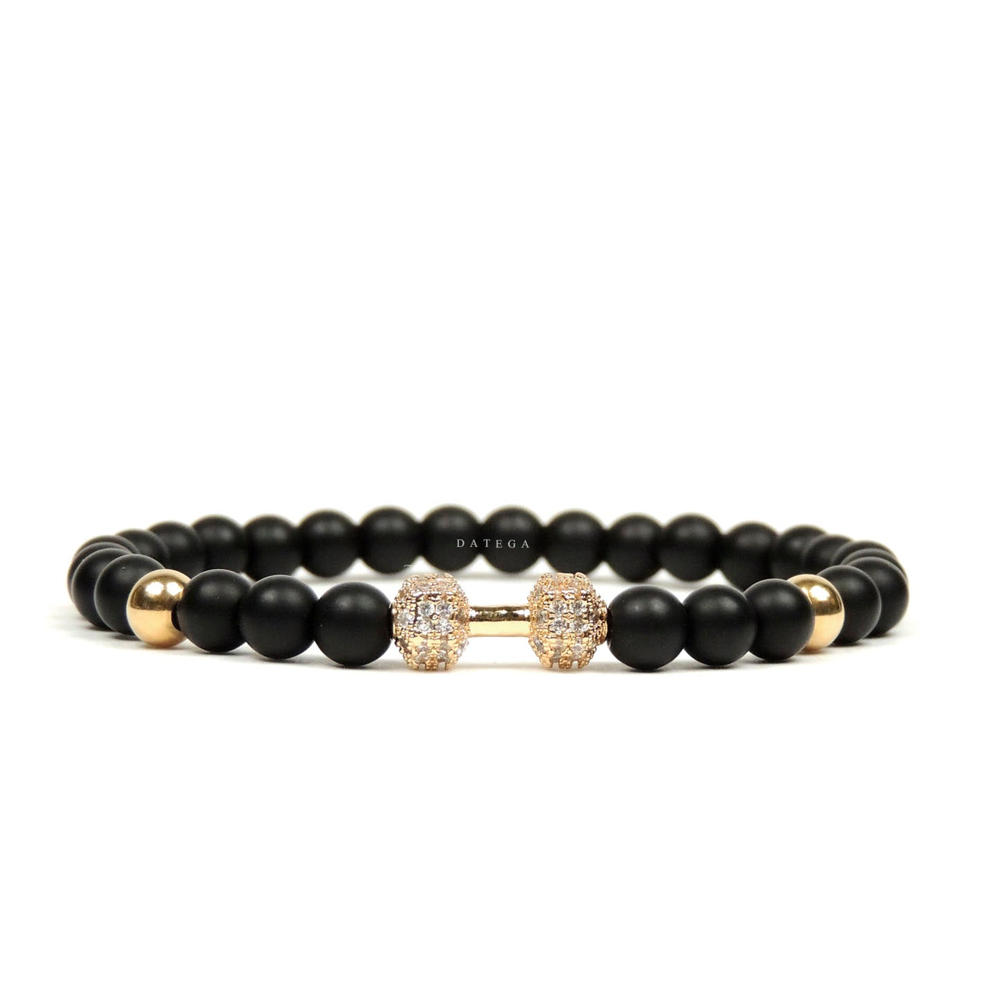 Yellow Gold Fit Cz & Onyx