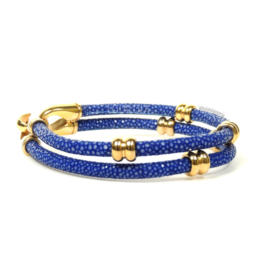 Rings Yellow Gold Double Rope Blue Stingray