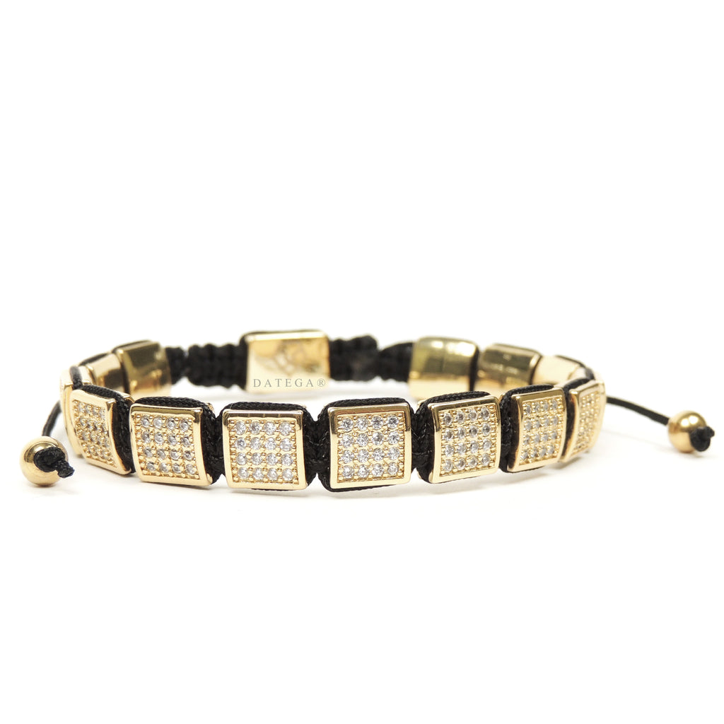 Yellow Gold Cz Square Bracelet