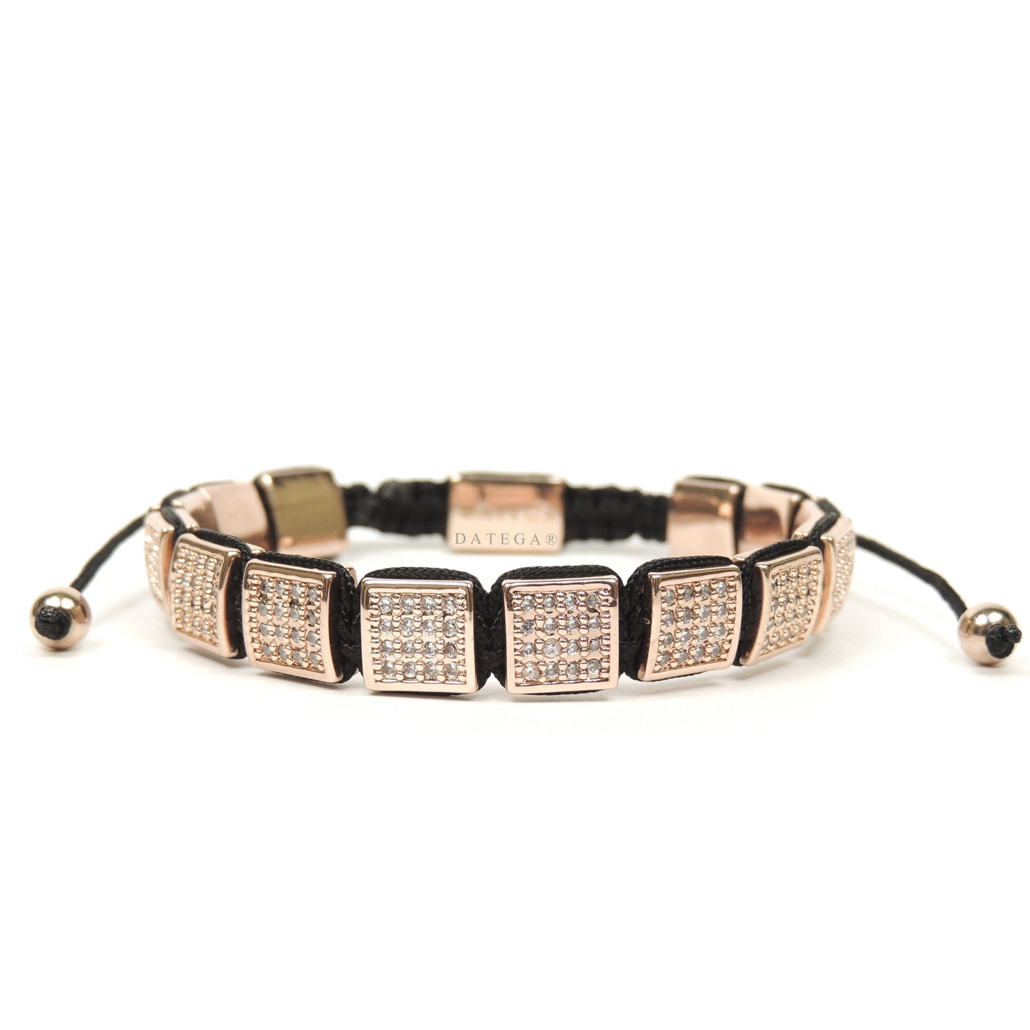 Rose Gold Clear Cz Square Bracelet