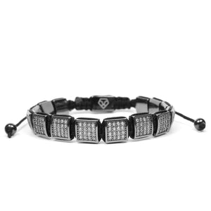 Rhodium Clear Cz Square Bracelet