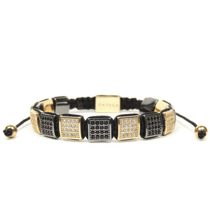 Rhodium & Yellow Gold Cz Square Bracelet