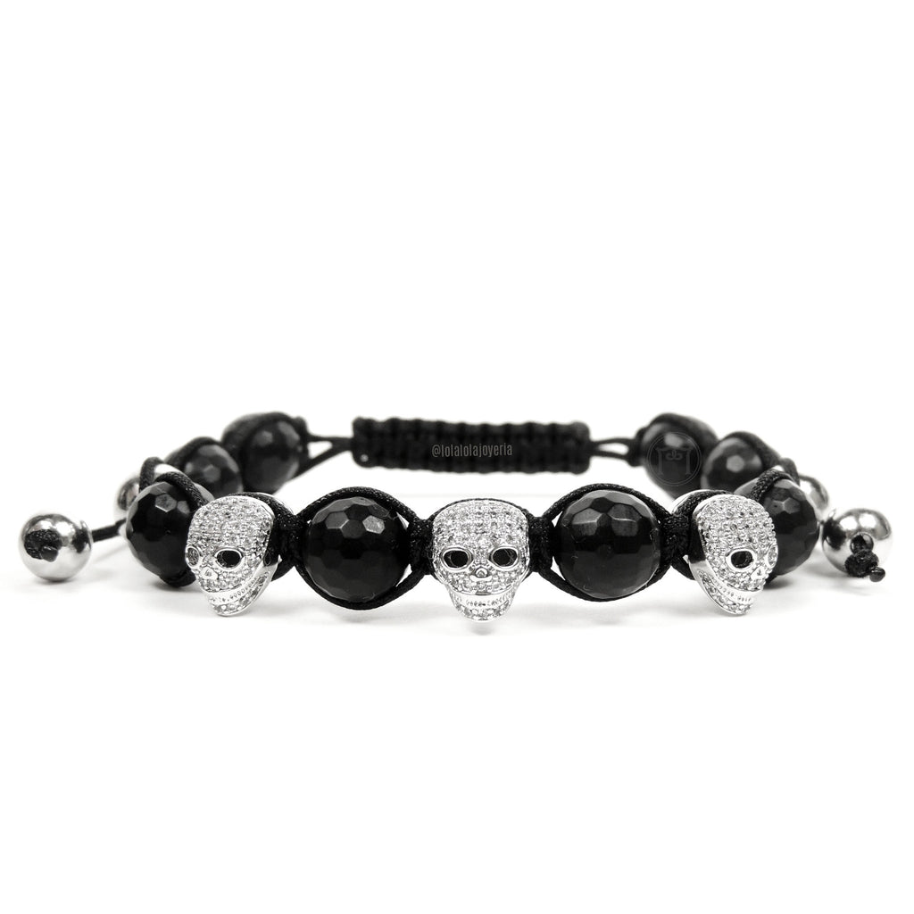 White Gold Luxury Cz Skull 3 - Agate Faceted