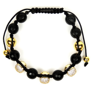 Gold Luxury 3 Cz Skull & Agate Faceted