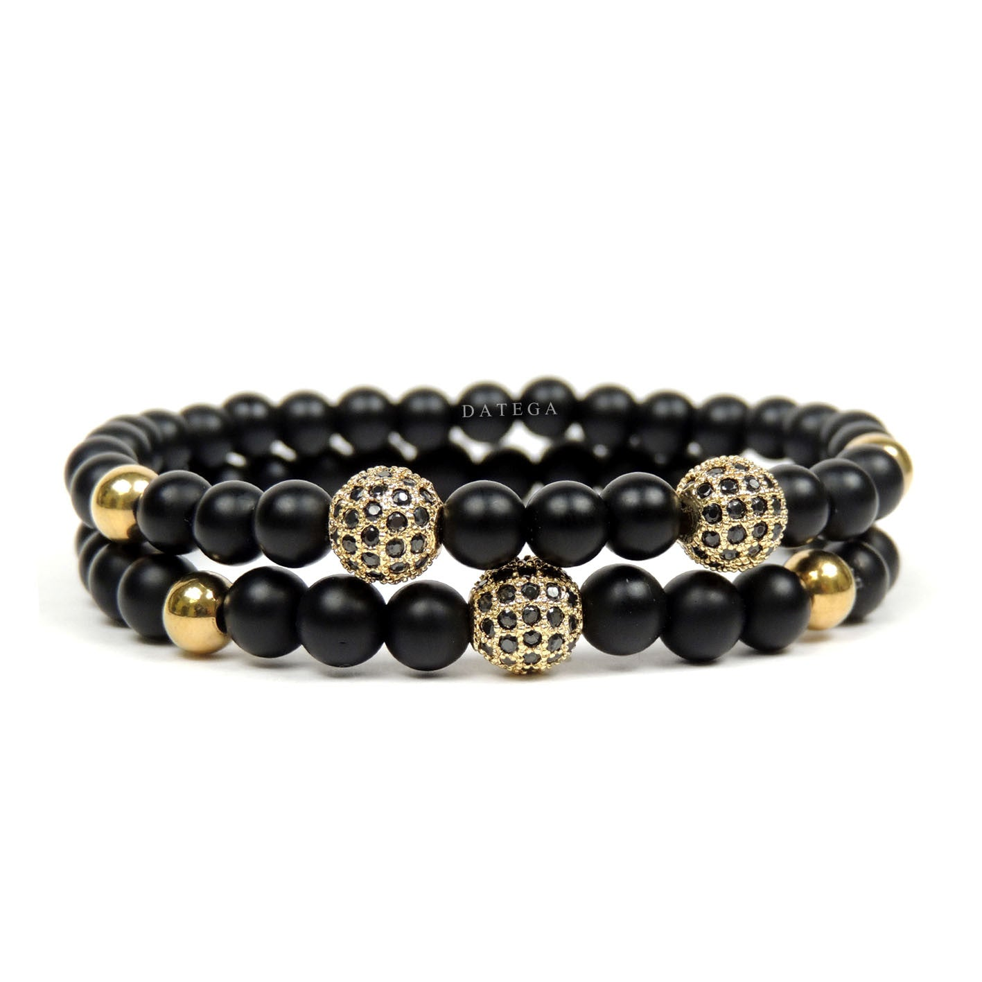 Yellow Gold CZ Balls & Matte Onyx - Set