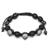 Rhodium Luxury 3 Cz Skull & Agate Faceted