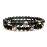 Rose Gold CZ Balls & Matte Onyx - Set