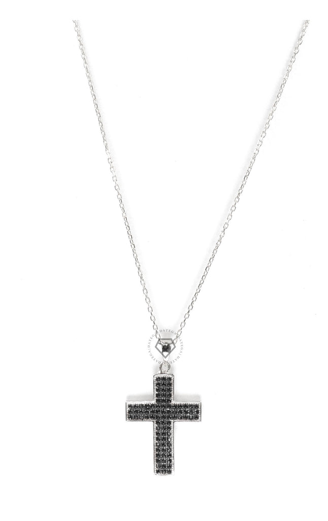 Black Cz Cross Necklace - Silver