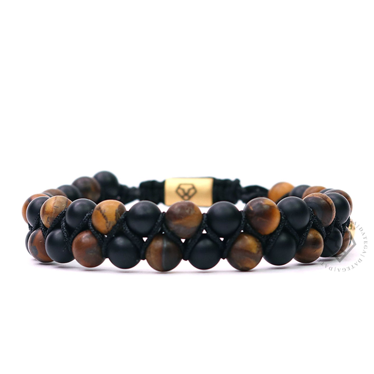 Double Beaded Matte Tiger Eye & Onyx