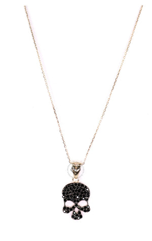Black Cz Euro Skull Necklace - Gold