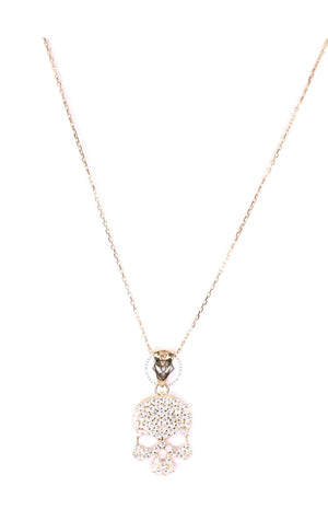 Clear Cz Euro Skull Necklace - Gold