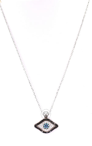Black & Clear Cz Evil Eye Necklace - Silver