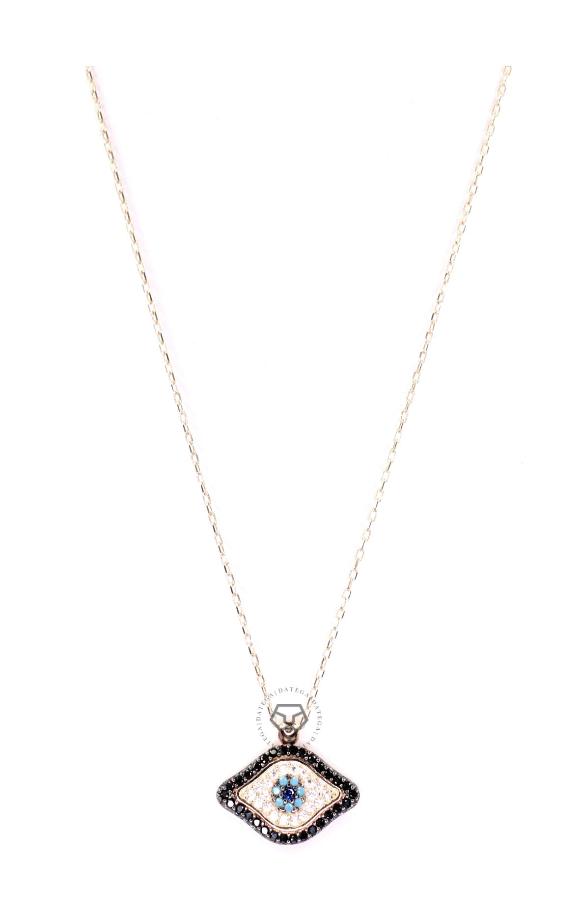 Black & Clear Cz Evil Eye Necklace - Gold