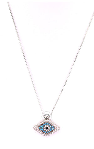 Clear & Turquoise Cz Evil Eye Necklace - Silver