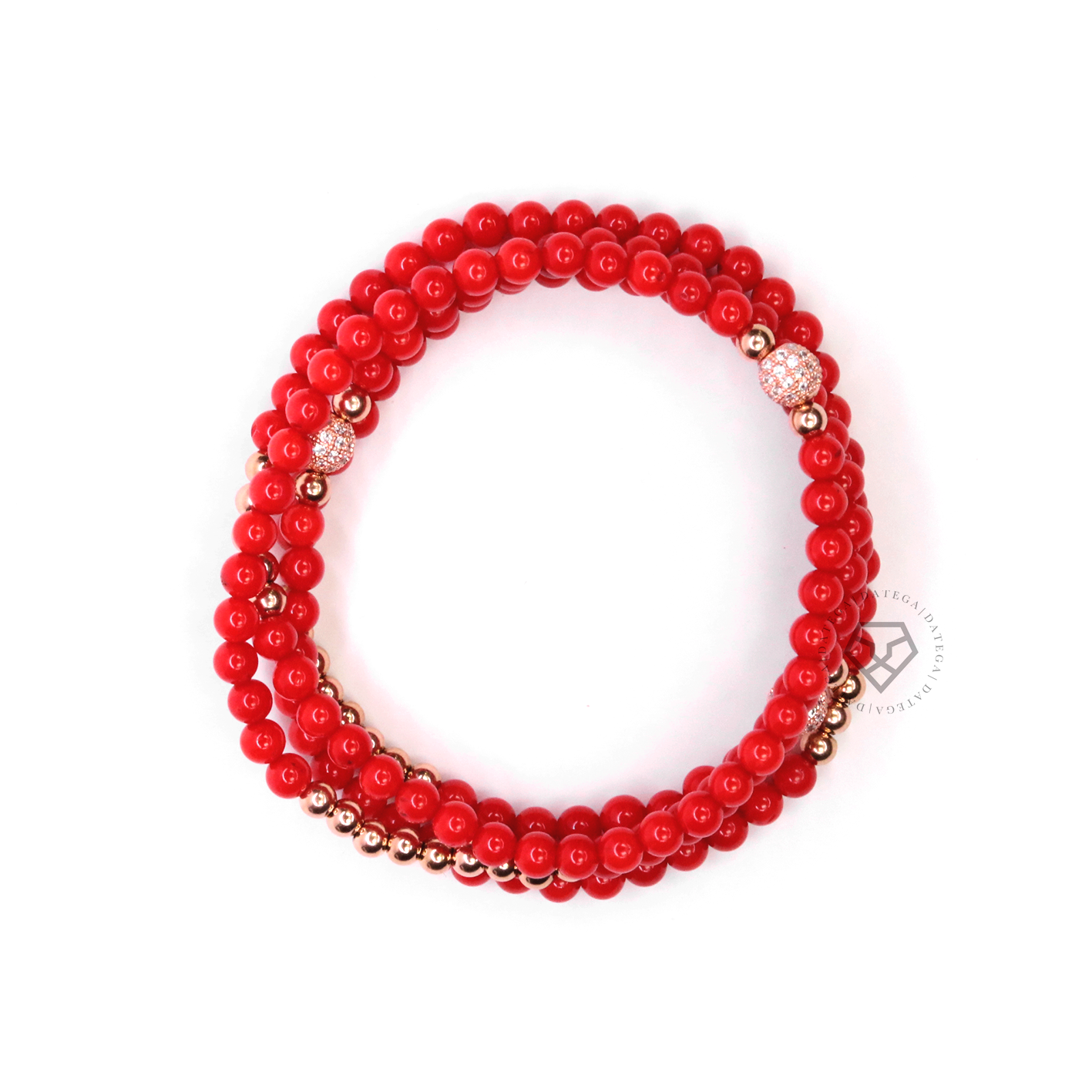 Wrap Coral & Rose Gold Bracelet