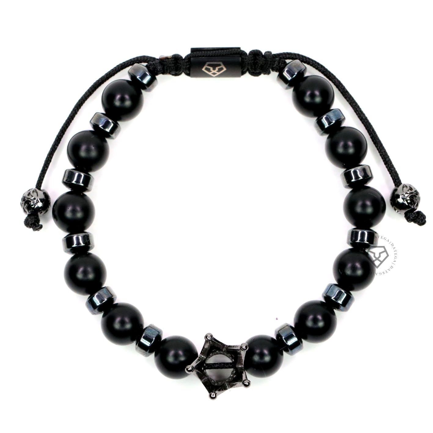Rhodium Crown, Onyx & Hematite Stoppers