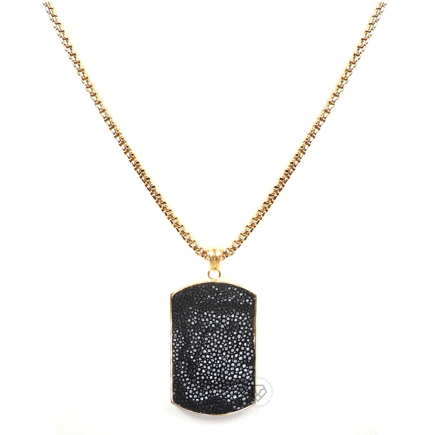 Black Stingray Tag - Gold Chain