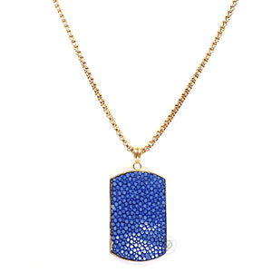 Blue Stingray Tag - Gold Chain