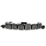 Rhodium Black Cz Square Bracelet