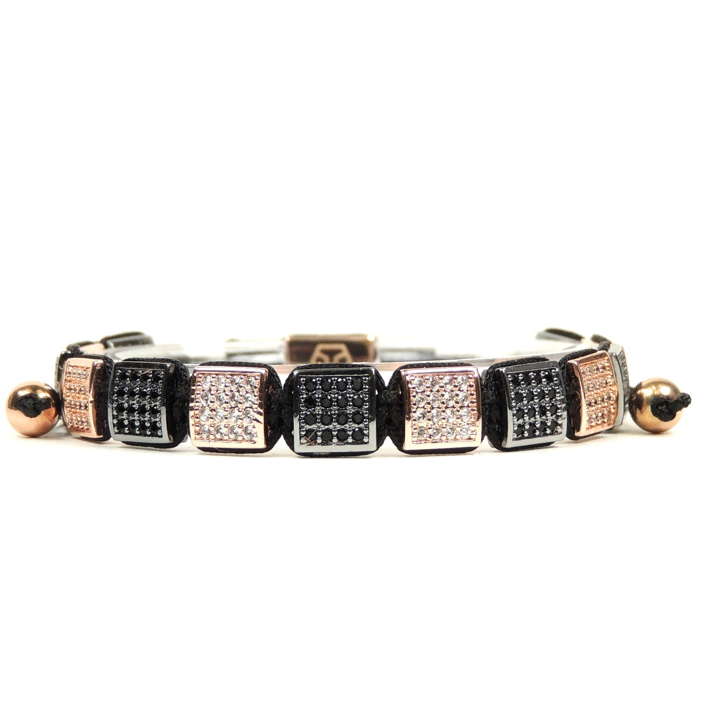Rhodium & Rose Gold Cz Square Bracelet