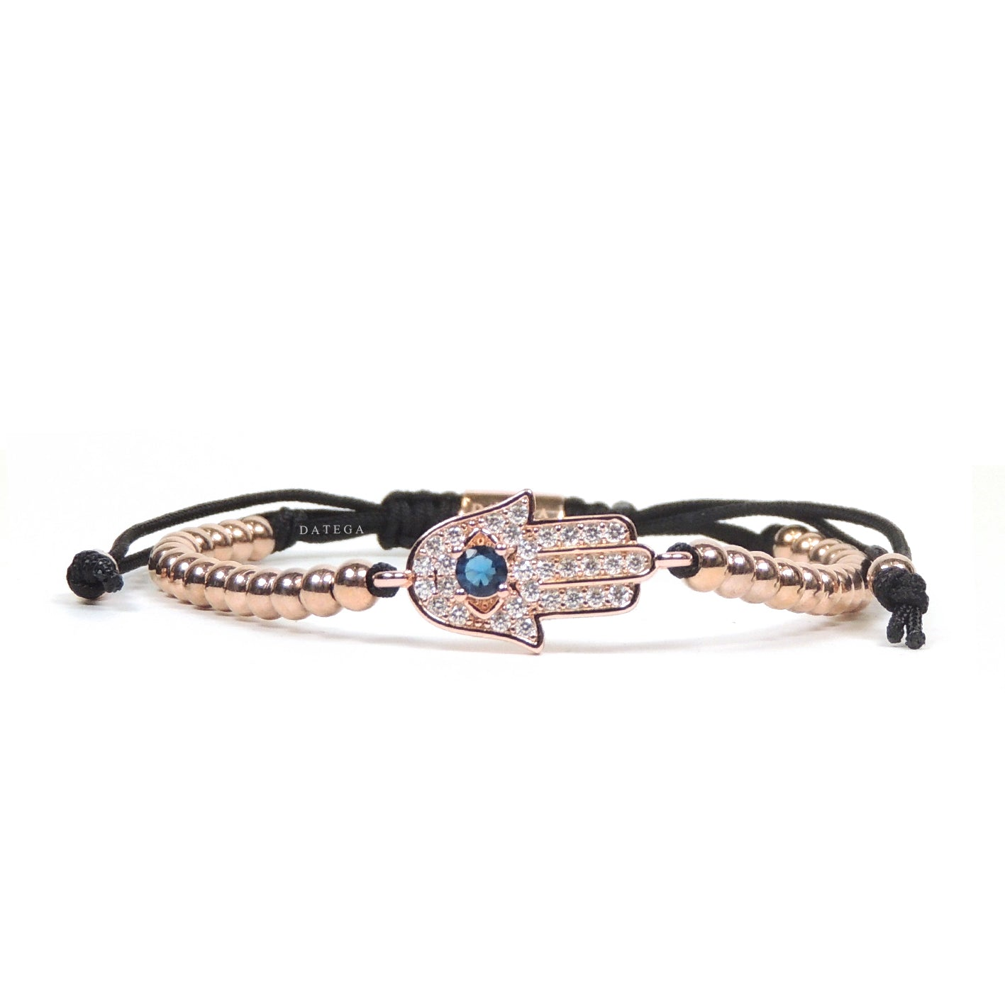 Rose Gold Blue Cz Hamsa