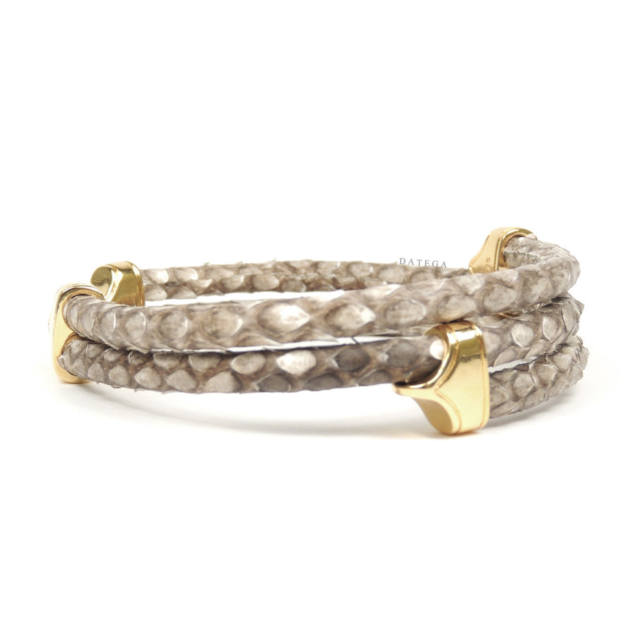 Clasp Yellow Gold Triple Rope Natural Python
