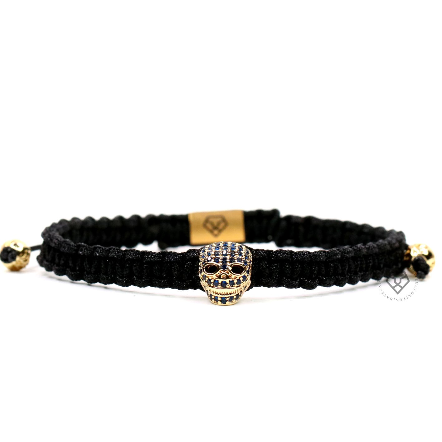 Luxury Skull Yellow Gold Blue Cz - Black Rope