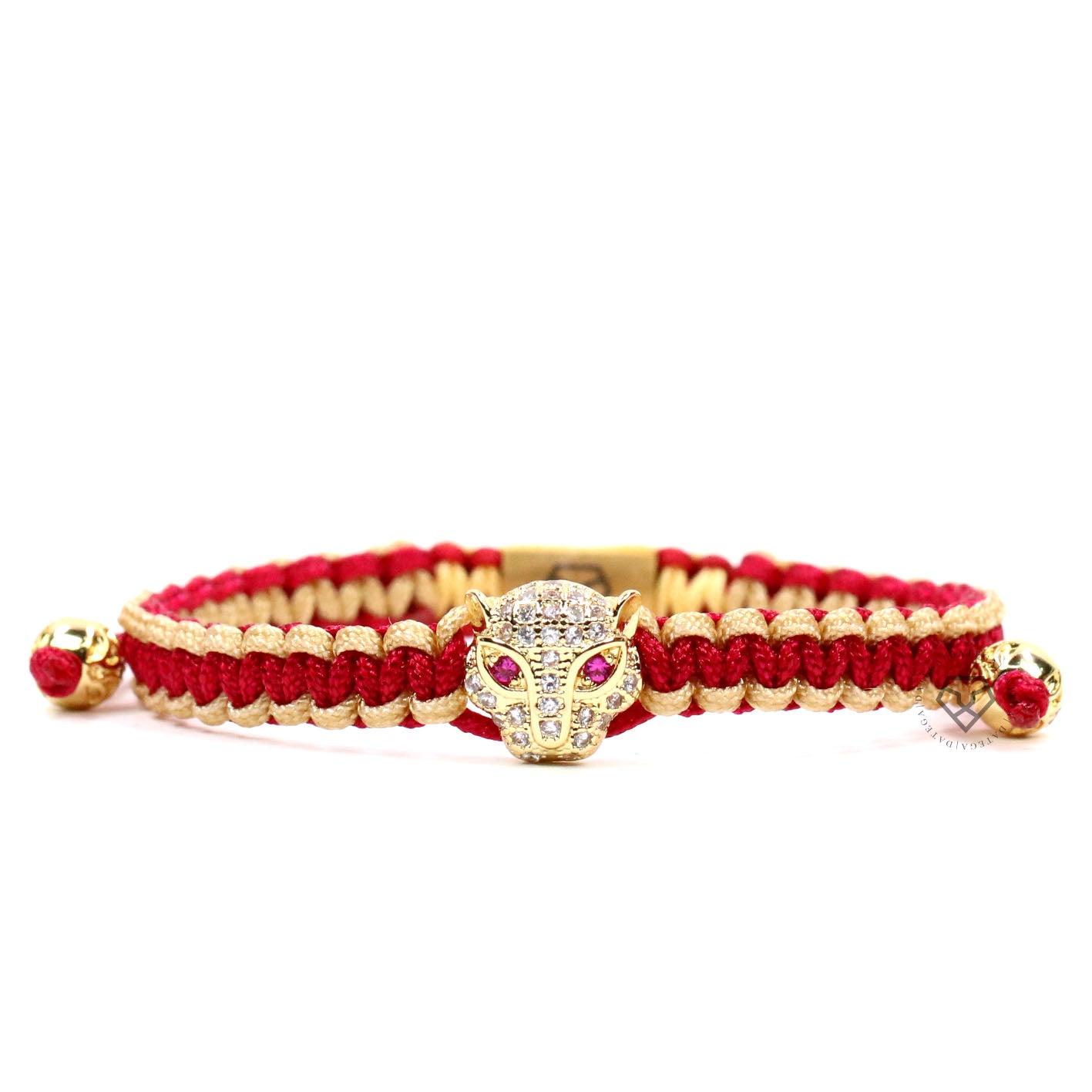 Jaguar Yellow Gold Clear Cz - Cherry & Caramel Rope