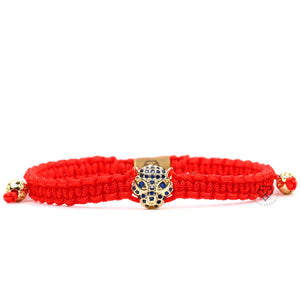 Jaguar Yellow Gold Blue Cz - Red Rope