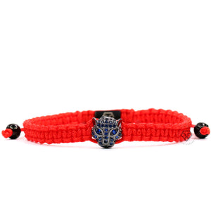 Jaguar Rhodium Blue Cz - Red Rope