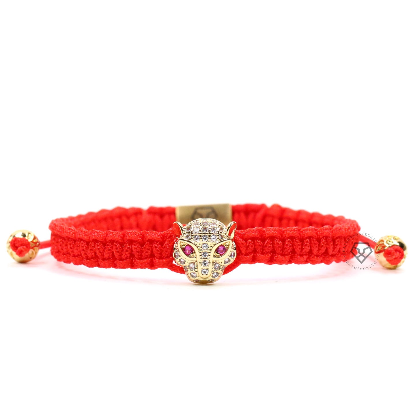 Jaguar Yellow Gold Clear Cz - Red Rope