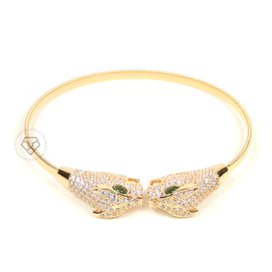 Twin Panthers Yellow Gold Clear Cz Cuff