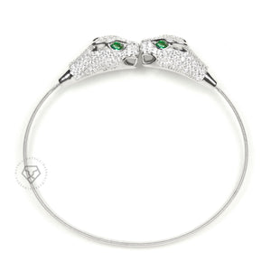 Twin Panthers White Gold Clear Cz Cuff