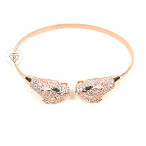 Twin Panthers Rose Gold Clear Cz Cuff