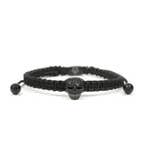Luxury Skull Rhodium - Black Rope
