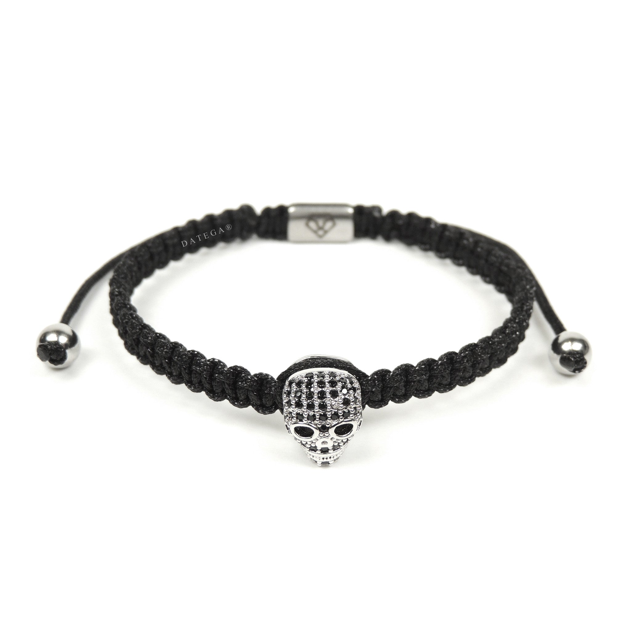 Luxury Skull White Gold - Black Rope