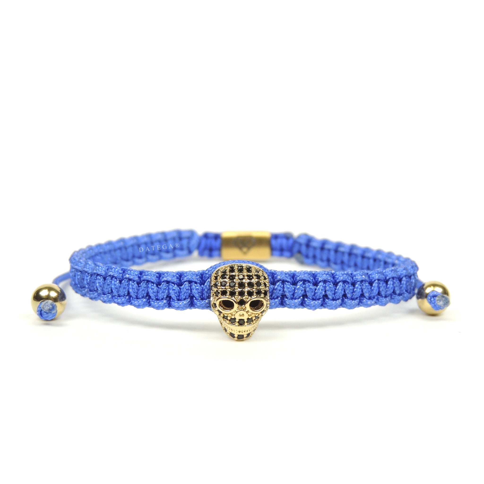 Luxury Skull Yellow Gold - Blue Rope