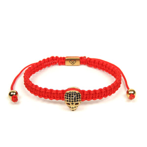 Luxury Skull Yellow Gold - Red Rope