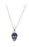 Blue Cz Skull Necklace - Silver