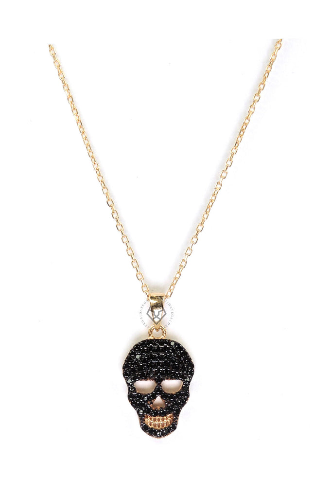 Black Cz Skull Necklace - Gold
