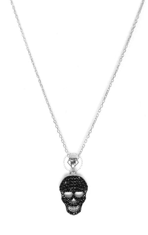 Black Cz Skull Necklace - Silver