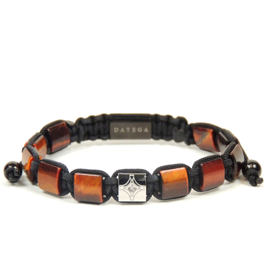 Red Tiger Eye & White Gold Star Bracelet