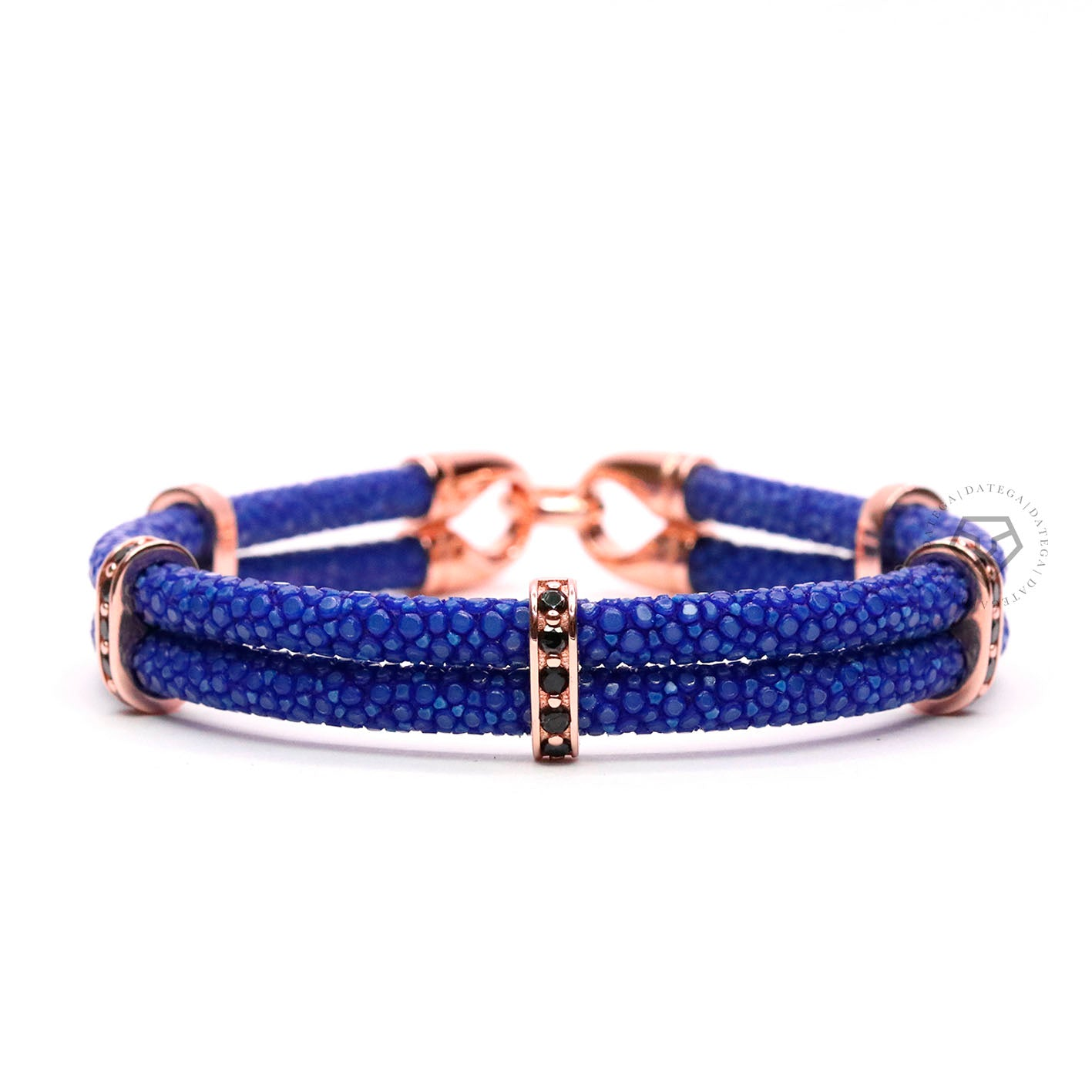 Swarovski Spacers Rose Gold Double Rope Blue Stingray