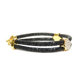 Swarovski Clasp Yellow Gold Double Rope Black Stingray