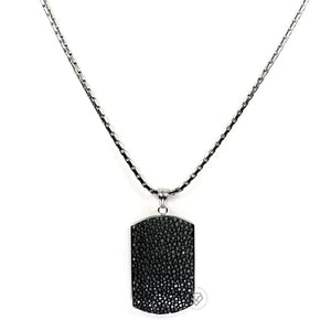 Black Stingray Tag - White Gold Chain