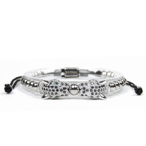 Twin Jaguars White Gold Black Cz