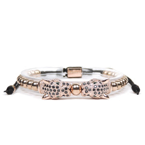 Twin Jaguars Rose Gold Black Cz