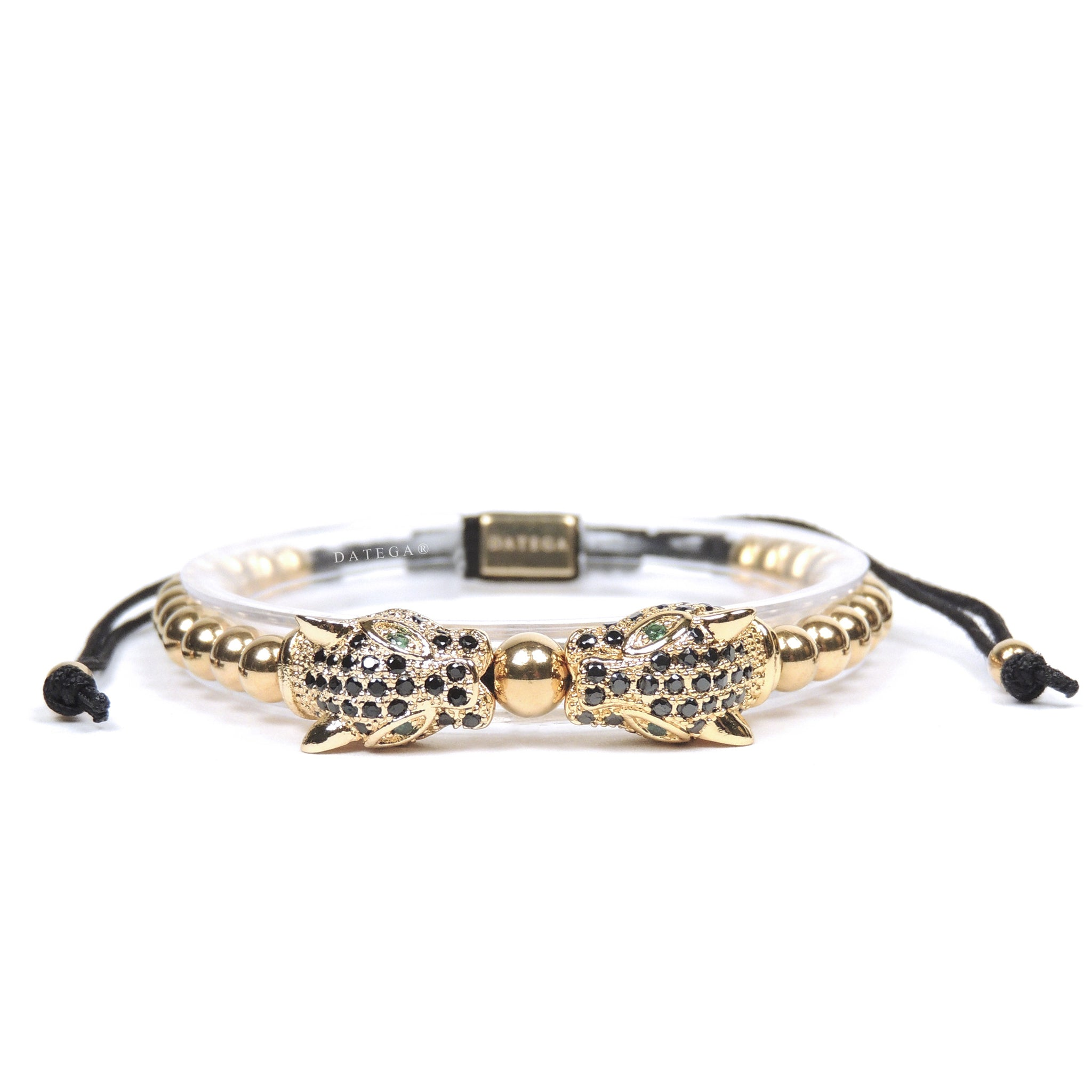 Twin Jaguars Yellow Gold Black Cz